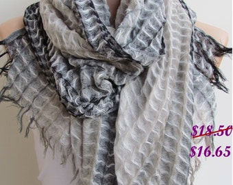 Gray and Cream Long Scarf -Shawl Scarf-New Season-Necklace-Cowl- Neckwarmer- Infinity Scarf-Mother's Day Gift