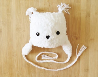 White Owl Baby Hat - White Baby Beanie - Baby Owl Hat - Knit Owl Baby Winter Hat - Fuzzy Owl Hat