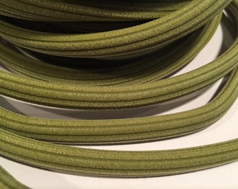 SALE: 2 Meters Olive Green Corduroy Rubber Licorice Cord with Hole, licorice cord, flexible, memory wire jewelry, choker, bracelet