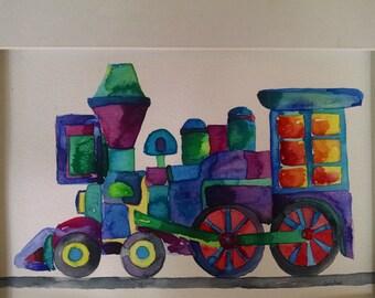 Train watercolor painting, original train painting, boy room art, boy nursery art, boy room decor