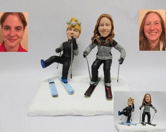 Personalised wedding cake topper - Funny Skiing couple (Free shipping)