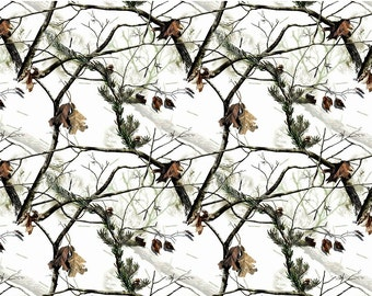 Realtree Winter White Snow Cotton Fabric by Print Concepts! [Choose Your Cut Size]