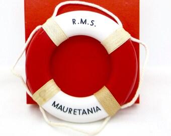 Antique RMS MAURITANIA SOUVENIR Life Preserver Mauretania Cunard White Star Line Novelty Plastic Life Preserver Souvenir New Old Stock