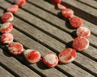 Rare & beautiful Red Horn Coral Fossil 18-16mm freeform beads (ETB00954)