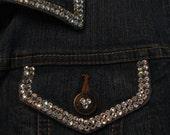 SWAROVSKI DENIM JACKET-4mm Double Row Crystals-Custom Design Your Own-Sparkle Up Your Wardrobe-Bling!