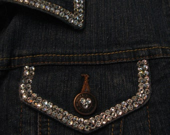 SWAROVSKI DENIM JACKET-4mm Double Row Crystals-Custom Design Your Own-Sparkle Up Your Wardrobe-Bling!