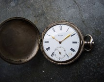 Antique Swiss Made Full Hunter Pocket Watch MITAD Body Case in solid silver 0.875 / steampunk supply findings / old watch case - Pw63