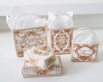 1:12 Scale Minature Shabby Paris Toil gift bags and boxes dollhouse toile black white blue transferware style  collection shabby French chic