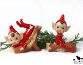 Vintage Christmas Elf,  Small Red Porcelain Pixies, Christmas Decor, Nostalgic Holiday Collectible 212B