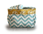 Ready to Ship  /  Teal Chevron and mustard flower blossom diaper bag tote bag