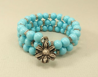 Sunflower and Blue Bead Memory Wire Bracelet