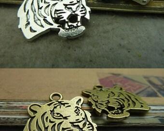 20pcs 24x27mm Antique Bronze Antique Silver Tiger Head Charms Pendants Connectors Pendants Jewelry Finding AC4577