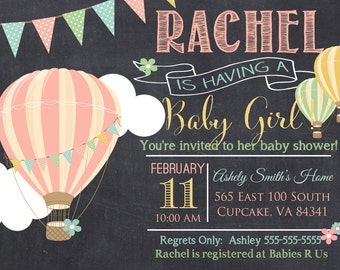 Hot Air Balloon Baby Shower Invitation, Hot Air Balloon Baby Shower Invitation, Digital File 5x7 or 4x6, Balloon Baby Shower Invitation