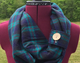 Infinity Scarf (Adult) - Blue and Green Flannel