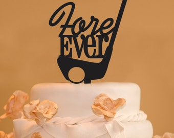 Golfing wedding cake topper - Fore Ever cake topper - Fore Ever golf cake topper - Golfers cake topper - golf club cake topper - golf