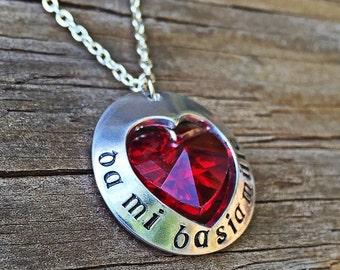 Outlander inspired necklace - outlander jewlery - outlander inspired - da mi basia mille - jamie claire fraser - give me a thousand kisses