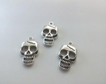 20 pcs Metal Skull Charms- Sugar Skull  Charms-Gothic skull Charms -15 mm x 24mm