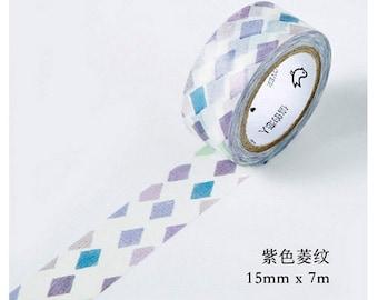 15mmX7M Primary Purple Blue Diamond Diary Washi Tape Masking Tape