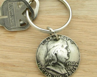For 55th: 1962 Antiqued Half Dollar Keychain Coin Accessory 55th Birthday or 55th Anniversary Gift Coin Accessory