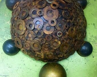 """Turtle sculpture 20"""" 16""""x 6"""" found object original by kirsten kainz"""