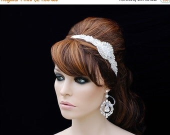 SALE - Prom Headpiece , Bridesmade Headpiece , Bridal Hair Accessory , Weddings Bridal Beaded Headband