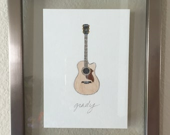 Gibson Acoustic~ Original Watercolor
