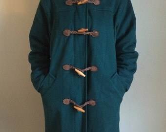 Vintage 80s L.L. Bean Wool Forest Green Toggle Coat