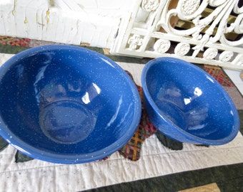 Vintage Pretty Blue White Speckled Enamelware Bowls Rustic Decor Country Cottage Farmhouse Decor