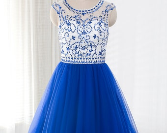 Short prom dress, tulle prom dress, Royal Blue evening dress, homecoming dress with Beaded