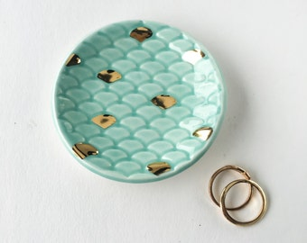 Mermaid Tail Ring Dish - Seafoam Green and Gold - Party favors, Tea Light Holder, Jewelry Dish, Bridesmaid Wedding Favors