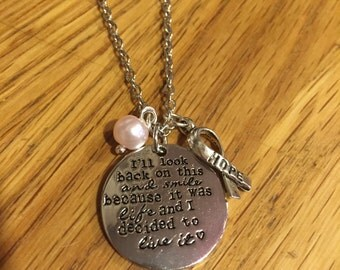 I'll look back on this and smile because it was life and I decided to live it  Engraved Necklace