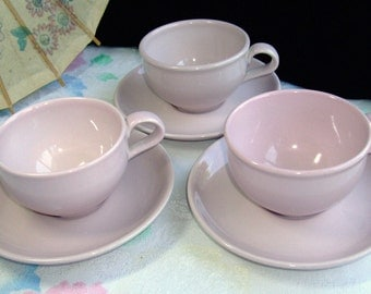 3 Pink Coffee Tea Cups & Saucers Russel Wright Iroquois Casual China