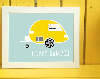 Happy Camper Camping Digital Print Available for Instant Download 8x10 or 11x14