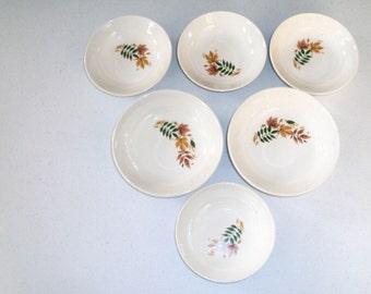 Salem China Autumn Leaves 4 Fruit Bowls & 2 Cereal Bowls