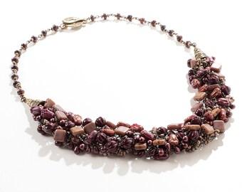 Bronze/Brown/Burgundy Wire Crochet Statement Necklace