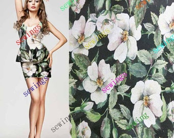DISCOUNT cdk-4022 Large White Flower on Black Nice Digitally Print Natural Pure Silk Fabric Crepe by Meters/ Yards Dressmaking Material