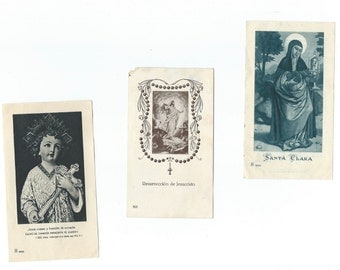 3 Vintage Religious Saints Card - Holy Cards with prayer - S98