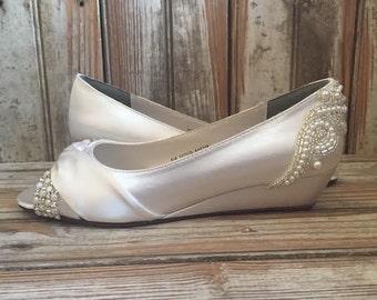 Low Heel Open Peep Toe Wedge Bridal Shoe Pearl Crystal Ivory White Satin Wedge Wedding Wedge