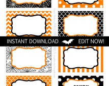 Halloween Labels - Instantly Downloadable and Editable File - Personalize at home with Adobe Reader! Halloween Party Supplies