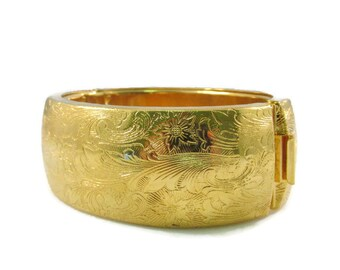 Wide Band Etched Gold Tone Bangle Bracelet