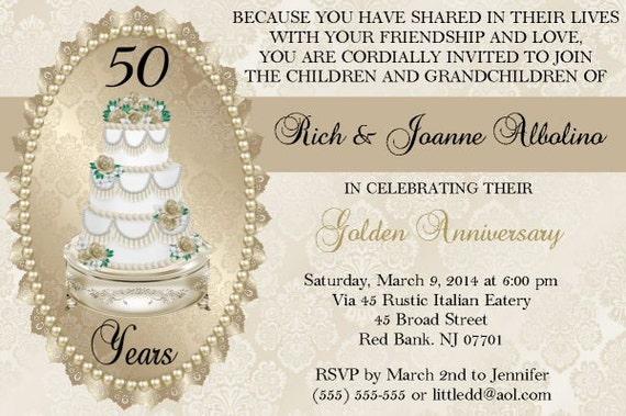 Golden Wedding Anniversary Invitations: 50th Wedding Anniversary Invitations By QualityDesignsKathy