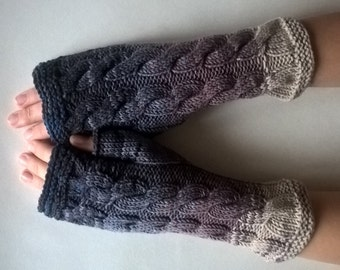 Multicolor ( blue, gray, brown, beige ) fingerless gloves, wrist warmers, fingerless mittens. Handmade, knitted of pure WOOL.