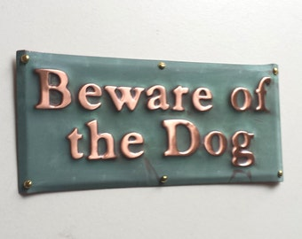 "Beware of the Dog plaque in patinated copper -  1"" high Garamond  - Custom orders welcome"