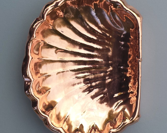 Soap Dish Tray Oyster Scallop Shell in Copper - handmade - naturally antimicrobial with/without wall fitting