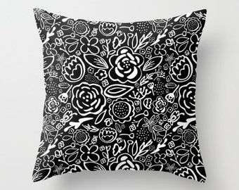 A Profusion of Flowers III - Decorative Pillows - Throw Pillows - Couch Pillows - Sofa Pillows - Black and White