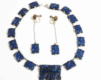 Art Deco Blue Glass Necklace Prong Set Molded Glass Stones and Matching Earrings