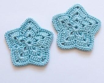 2 Stars Crocheted in light blue Applique