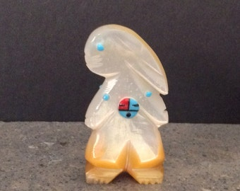 Native American Zuni Mother of Pearl, Turquoise, Coral, Jet Standing Rabbit Fetish With Sunface Signed Joanne Cheama