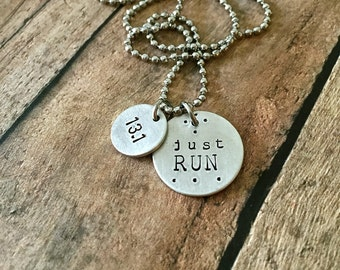 Half Marathon Necklace, JUST RUN Motivational Running Necklace for Marathon, Half Marathon ,10k or 5k