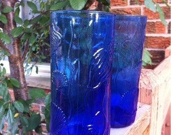 Vintage Cobalt Blue Glass Drinking Glasses